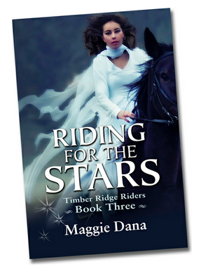 Riding for the Stars book cover, black horse