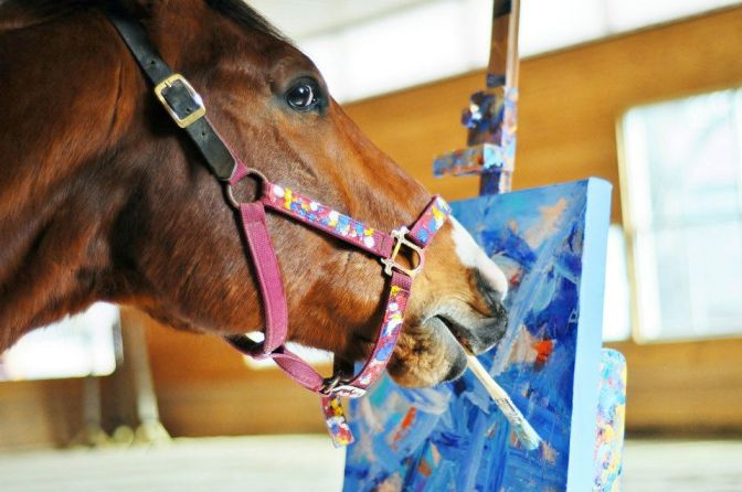 Metro the painting horse