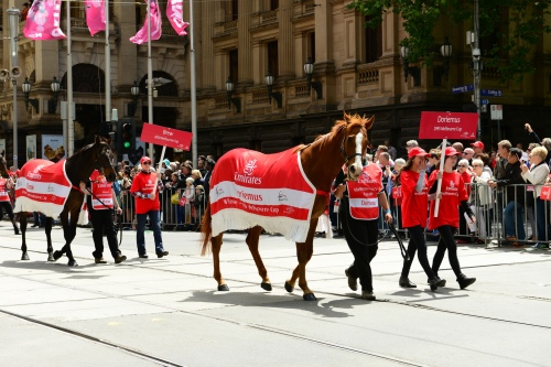 Past Melbourne Cup winner Brew (now at Living Legends) and Doriemus on parade. Photo: Chris Phutully/Flickr